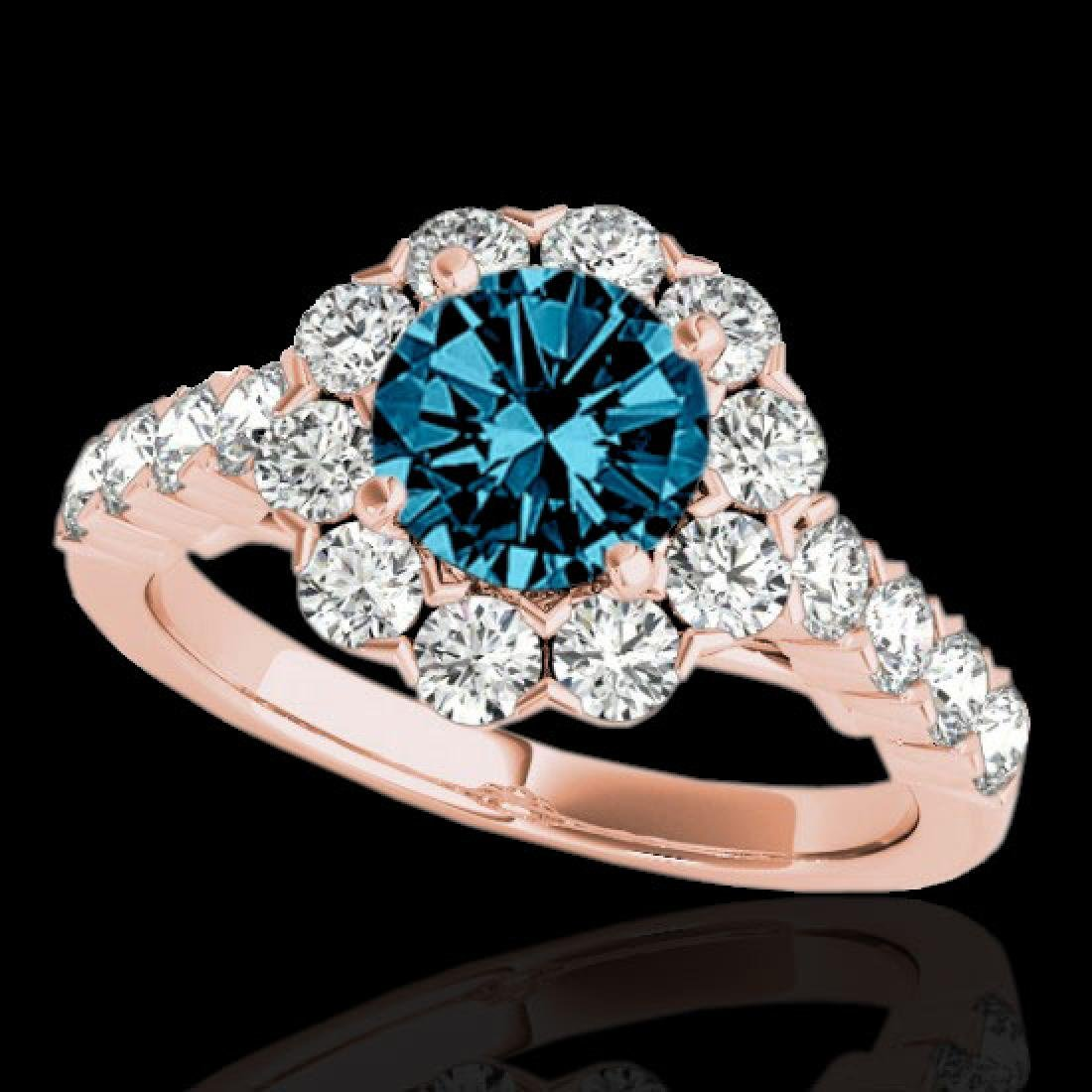 3 CTW SI Certified Fancy Blue Diamond Solitaire Halo