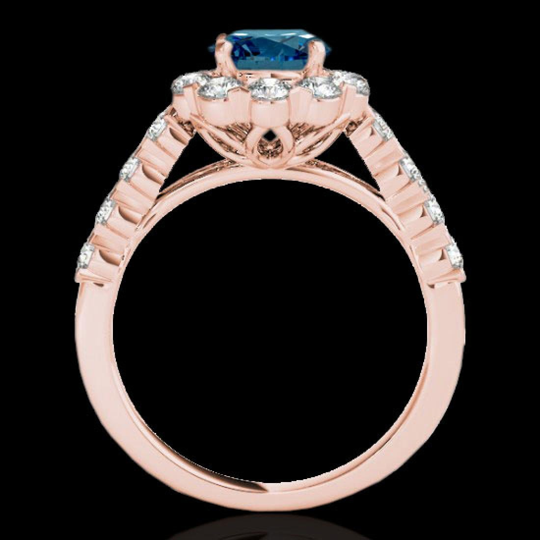 3 CTW SI Certified Fancy Blue Diamond Solitaire Halo - 2