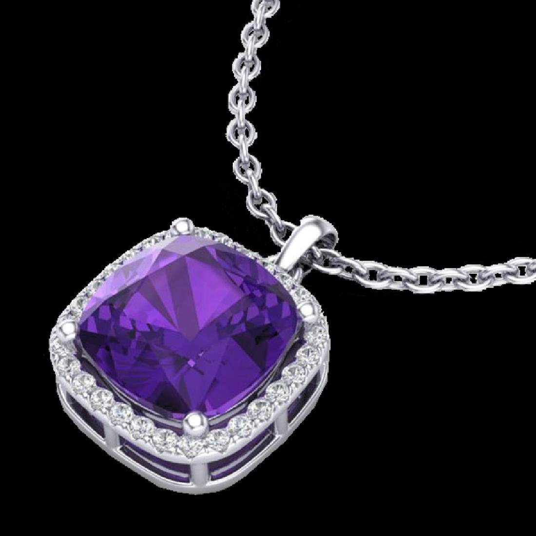 6 CTW Amethyst & Micro Pave Halo VS/SI Diamond Necklace