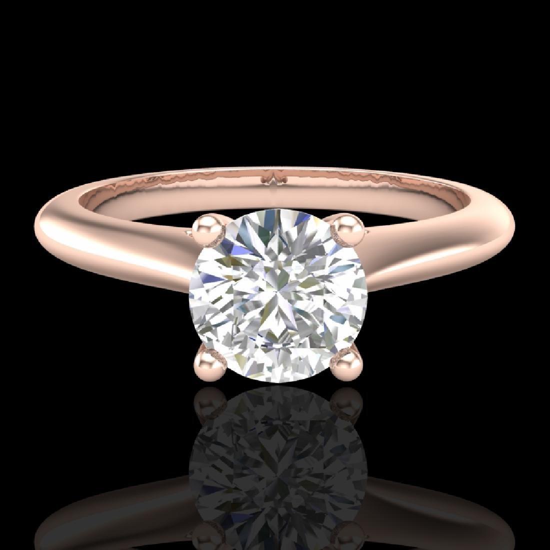 0.83 CTW VS/SI Diamond Solitaire Art Deco Ring 18K Rose - 2