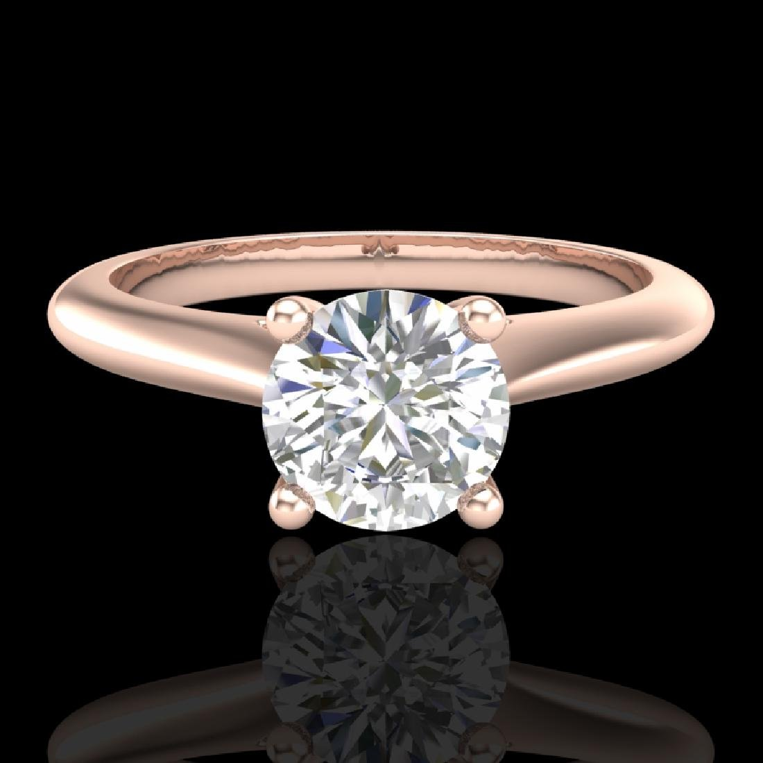 0.83 CTW VS/SI Diamond Solitaire Art Deco Ring 18K Rose - 2