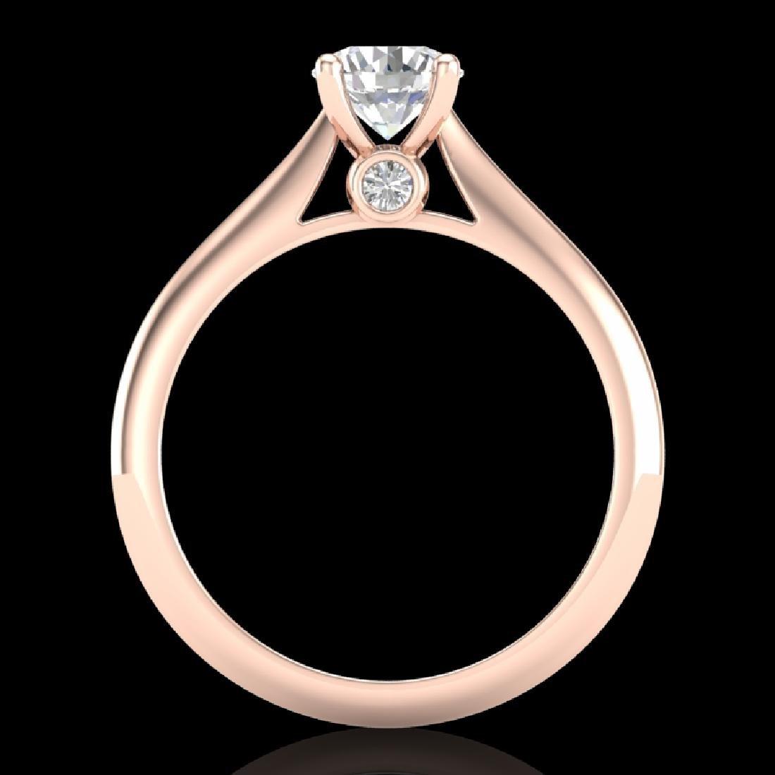 0.83 CTW VS/SI Diamond Solitaire Art Deco Ring 18K Rose - 3