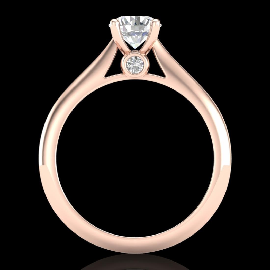 0.83 CTW VS/SI Diamond Solitaire Art Deco Ring 18K Rose - 3