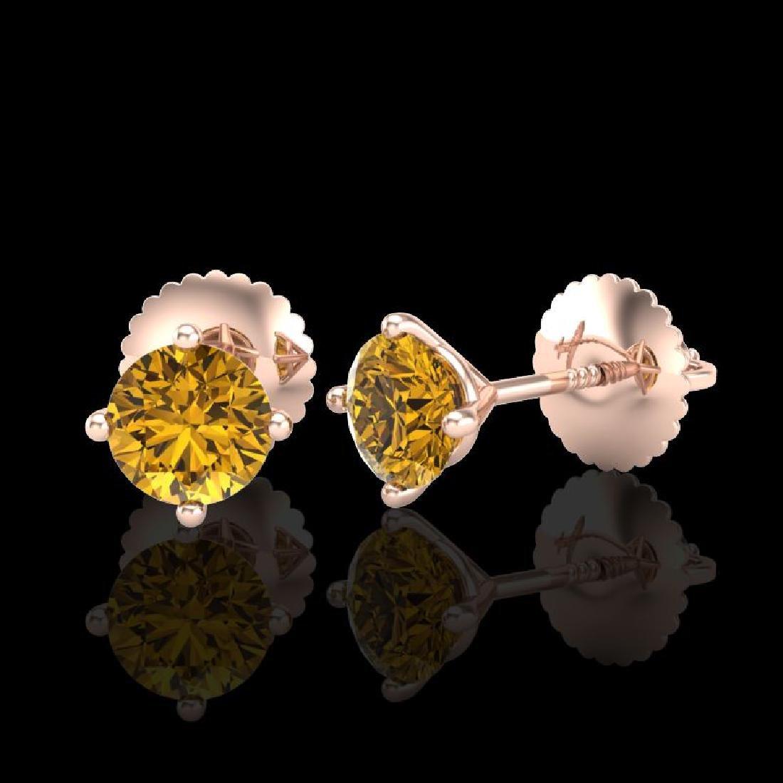 0.65 CTW Intense Fancy Yellow Diamond Art Deco Stud - 2
