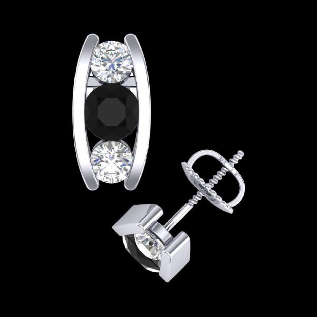 2.18 CTW Fancy Black Diamond Solitaire Art Deco Stud - 3