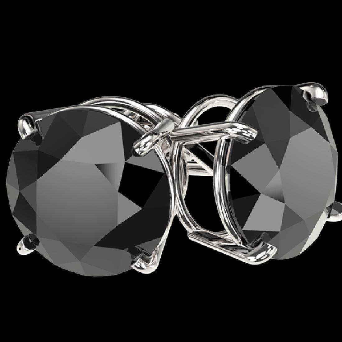 5 CTW Fancy Black VS Diamond Solitaire Stud Earrings - 2