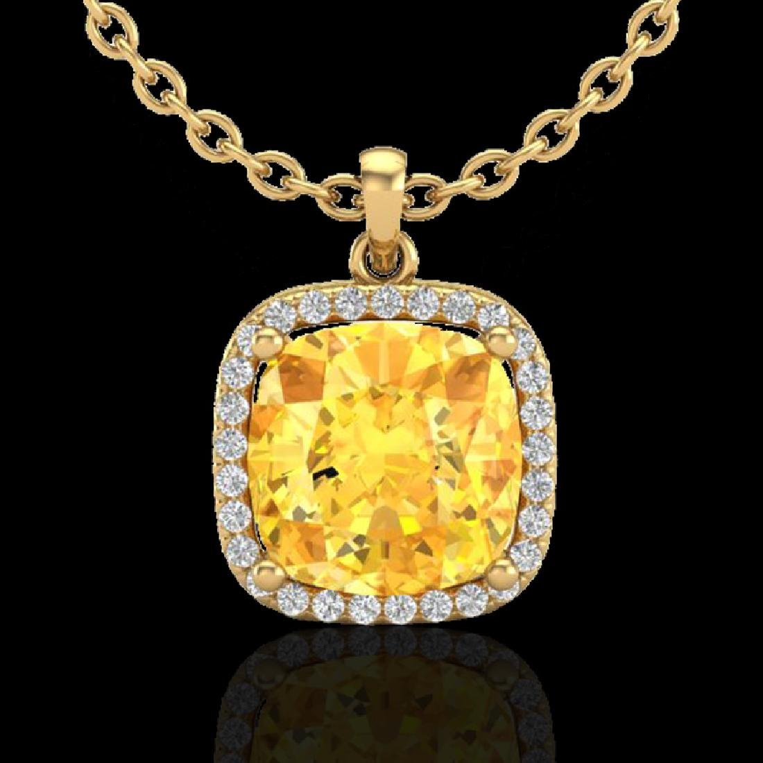 6 CTW Citrine & Micro Pave Halo VS/SI Diamond Necklace - 2