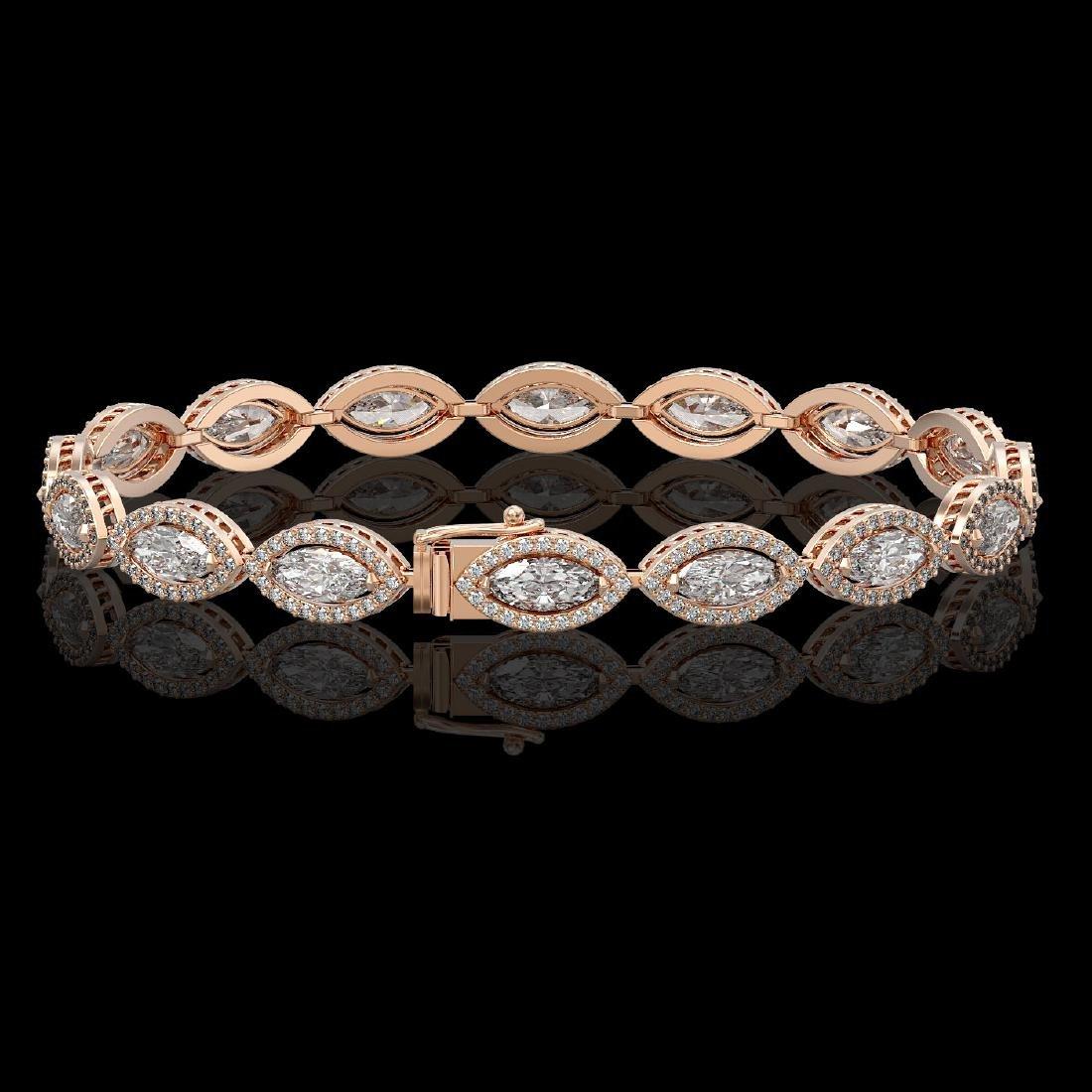 10.61 CTW Marquise Diamond Designer Bracelet 18K Rose - 2