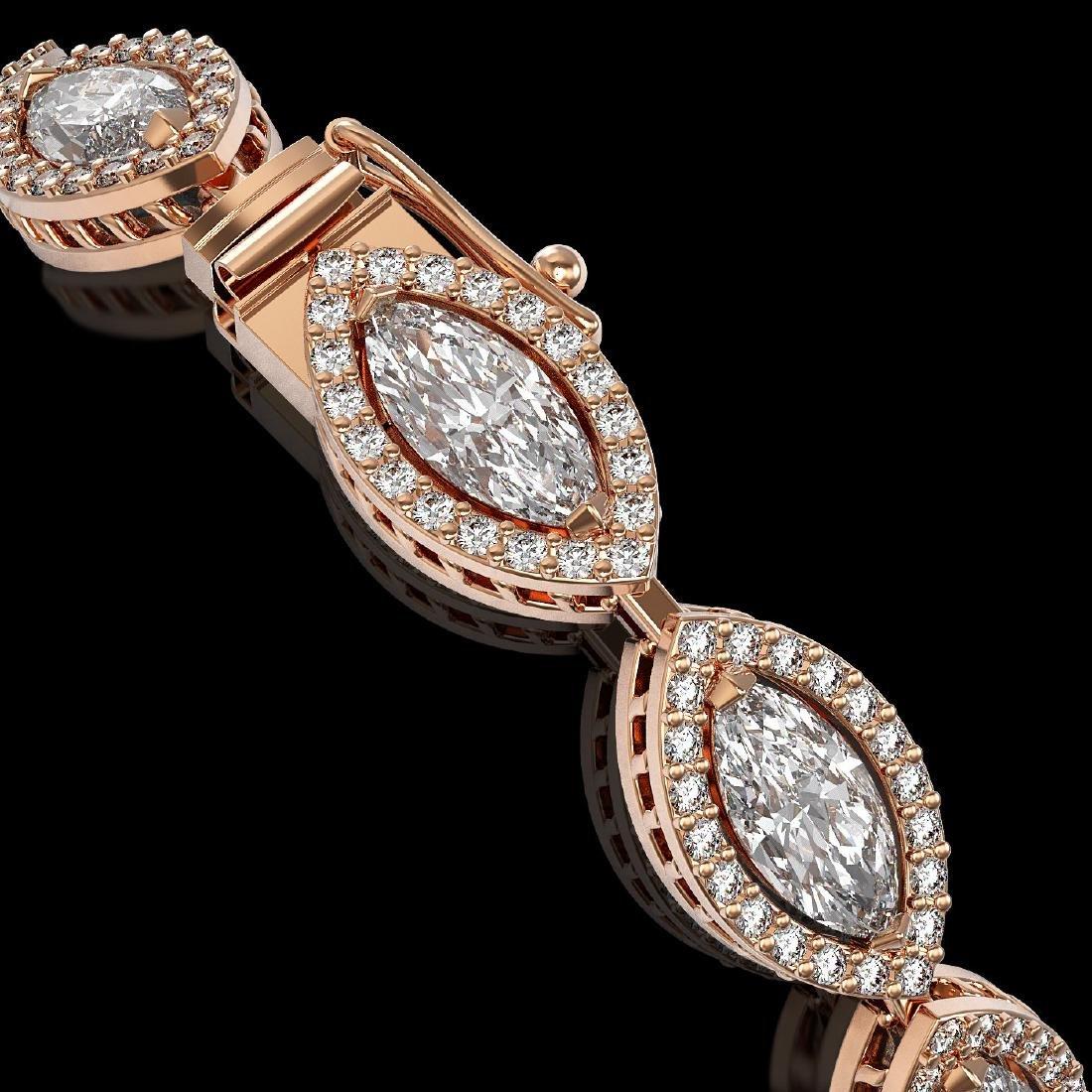 10.61 CTW Marquise Diamond Designer Bracelet 18K Rose - 3