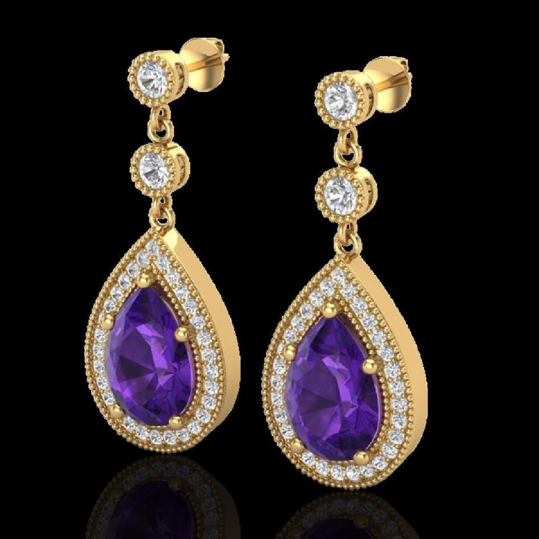 4.50 CTW Amethyst & Micro Pave VS/SI Diamond Earrings