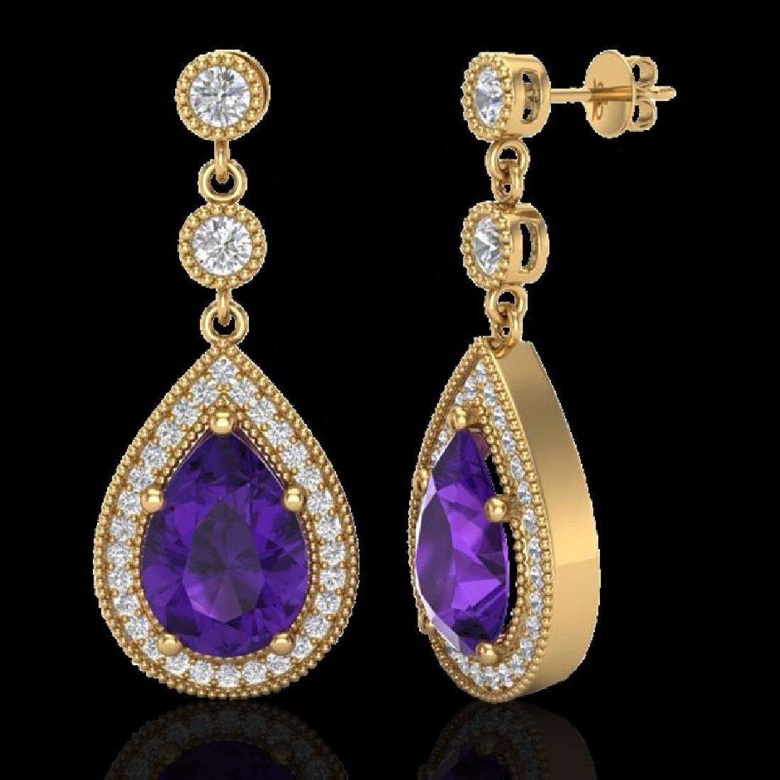 4.50 CTW Amethyst & Micro Pave VS/SI Diamond Earrings - 2