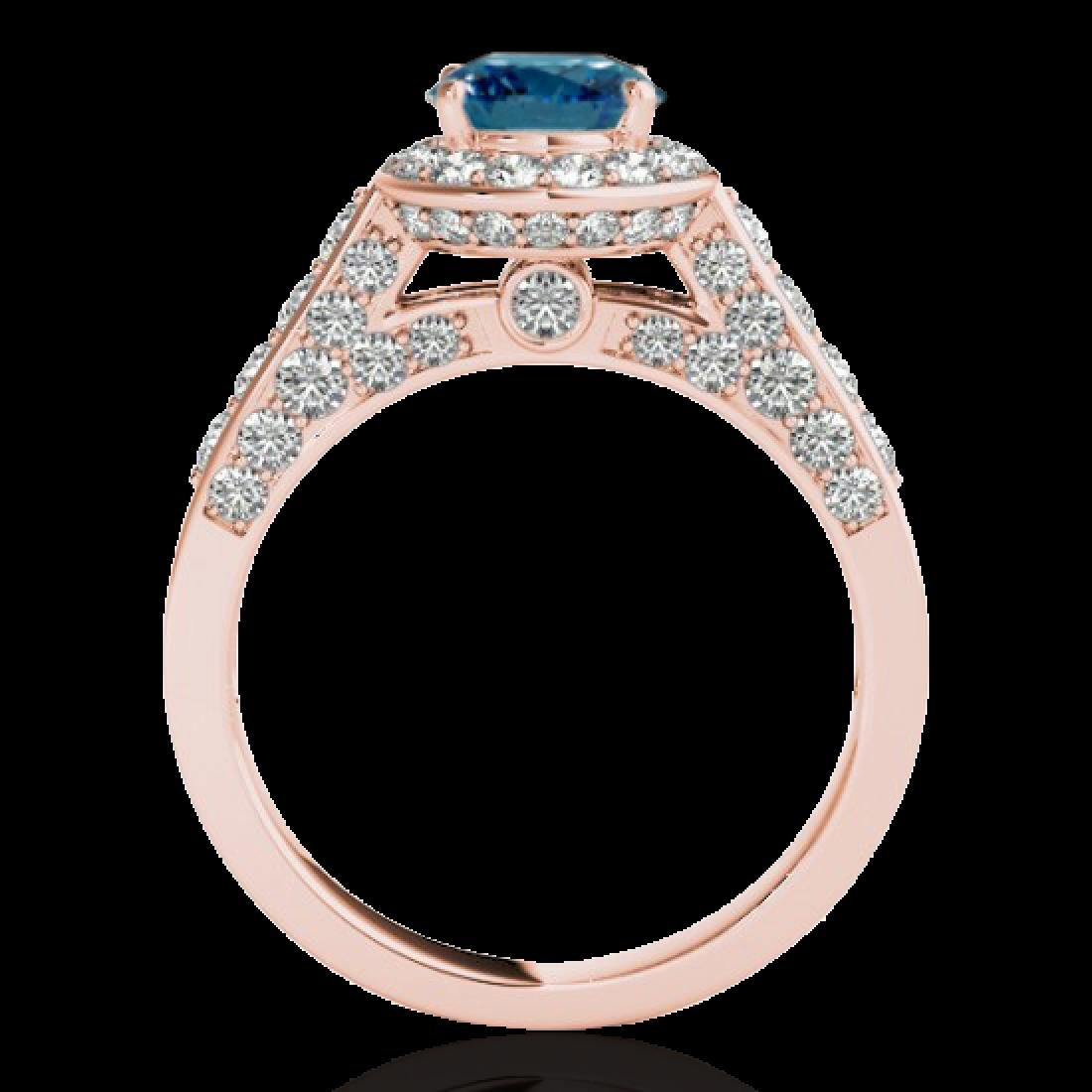 1.8 CTW SI Certified Fancy Blue Diamond Solitaire Halo - 2