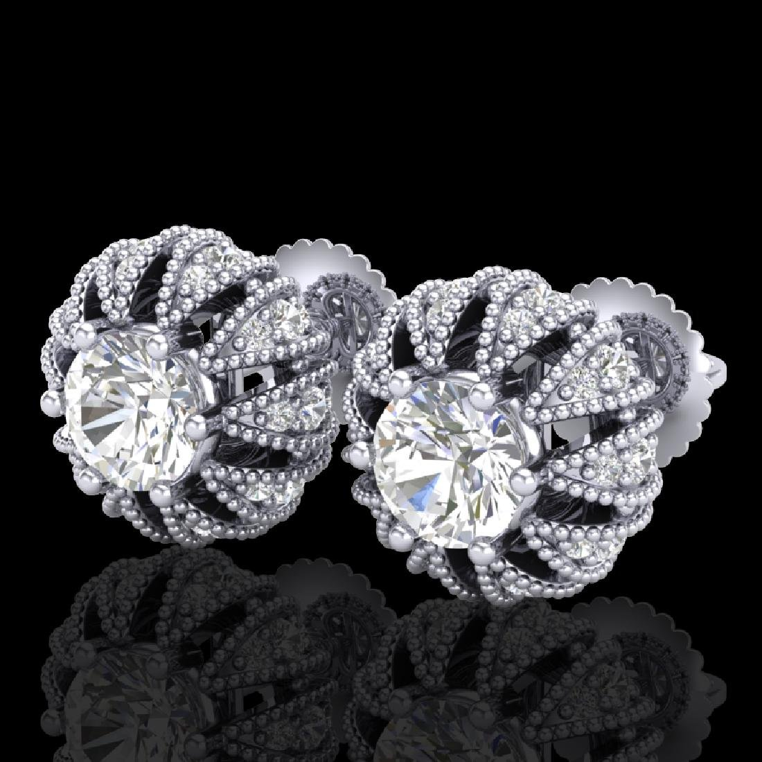 2.01 CTW VS/SI Diamond Art Deco Micro Pave Stud