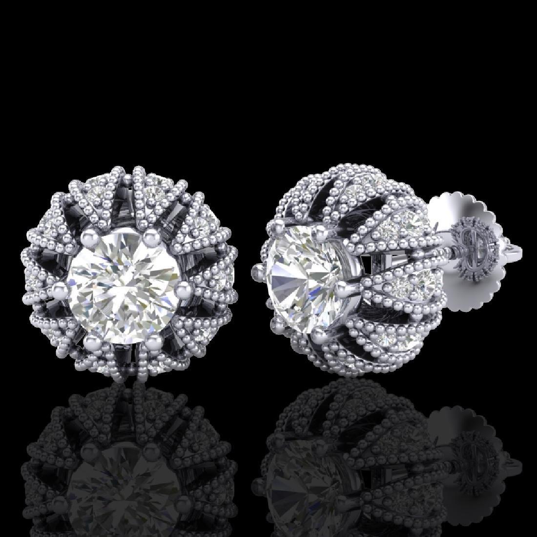 2.01 CTW VS/SI Diamond Art Deco Micro Pave Stud - 2