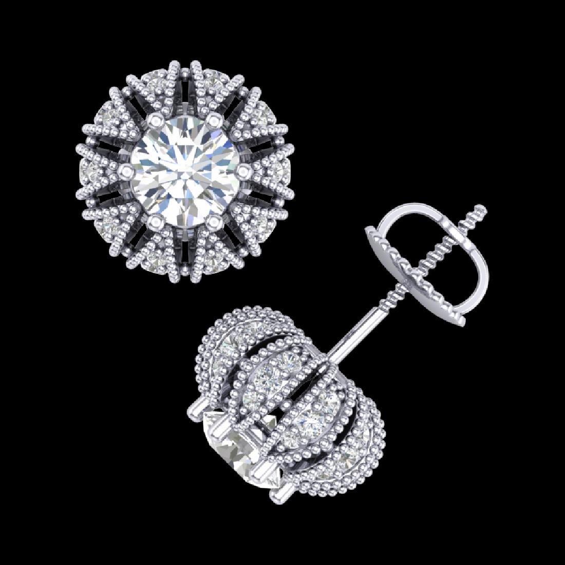 2.01 CTW VS/SI Diamond Art Deco Micro Pave Stud - 3