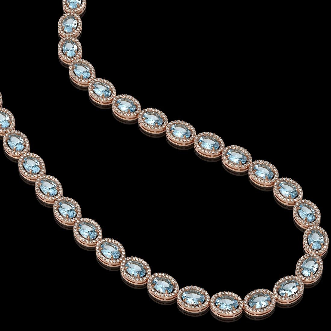 41.88 CTW Aquamarine & Diamond Halo Necklace 10K Rose