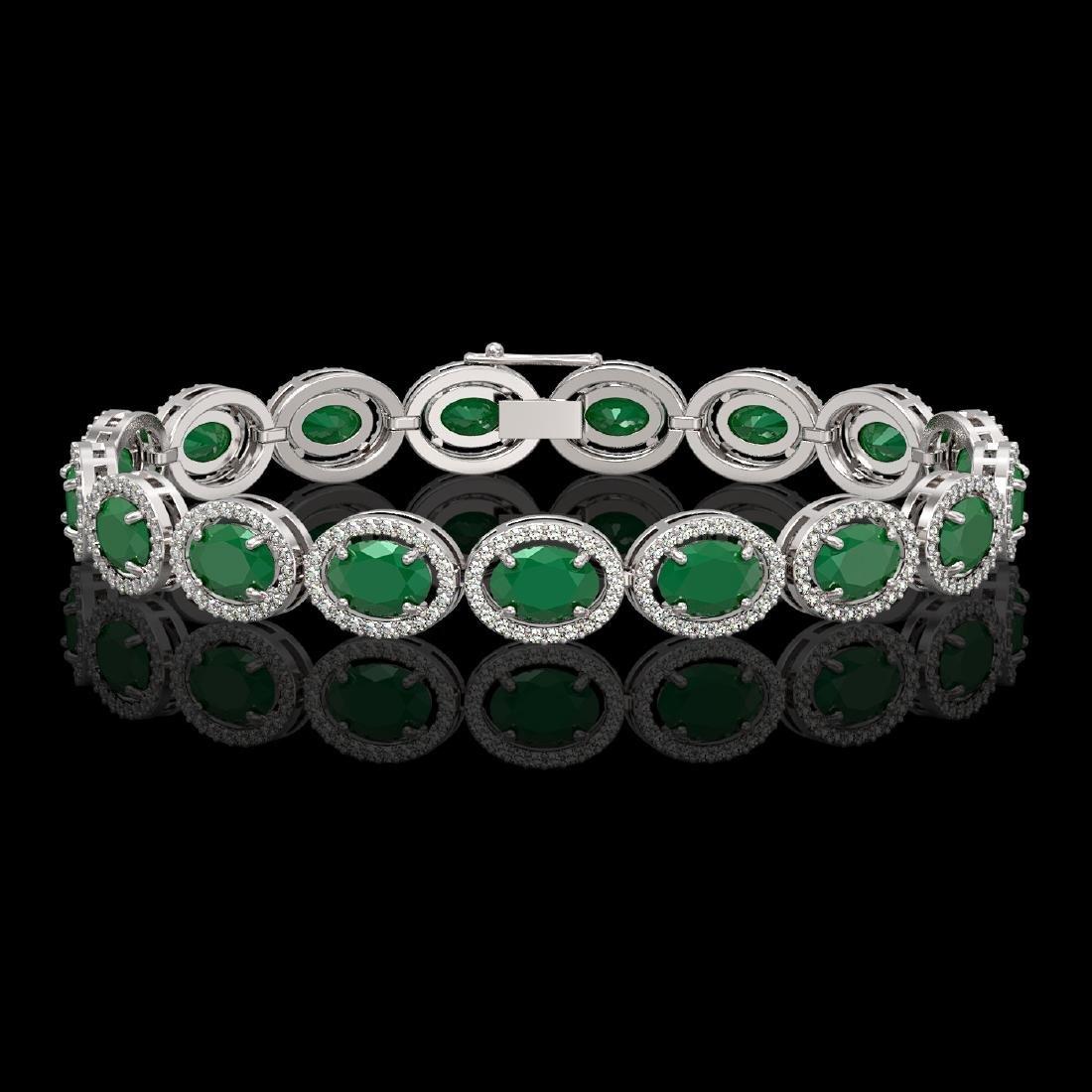 22.89 CTW Emerald & Diamond Halo Bracelet 10K White