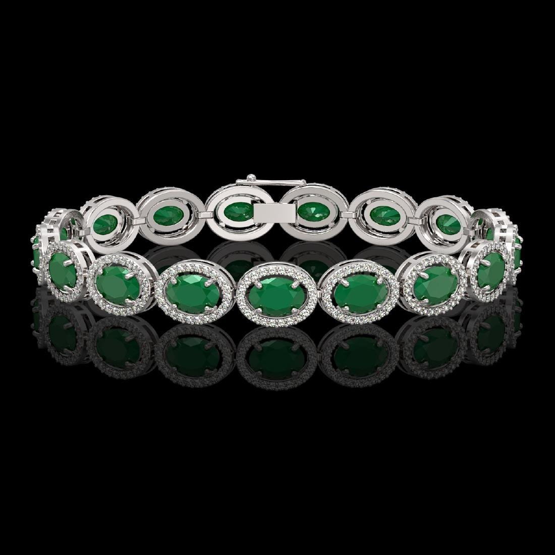 22.89 CTW Emerald & Diamond Halo Bracelet 10K White