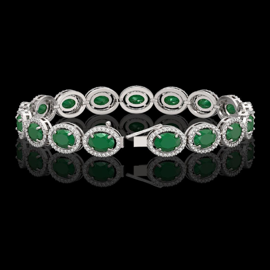 22.89 CTW Emerald & Diamond Halo Bracelet 10K White - 2