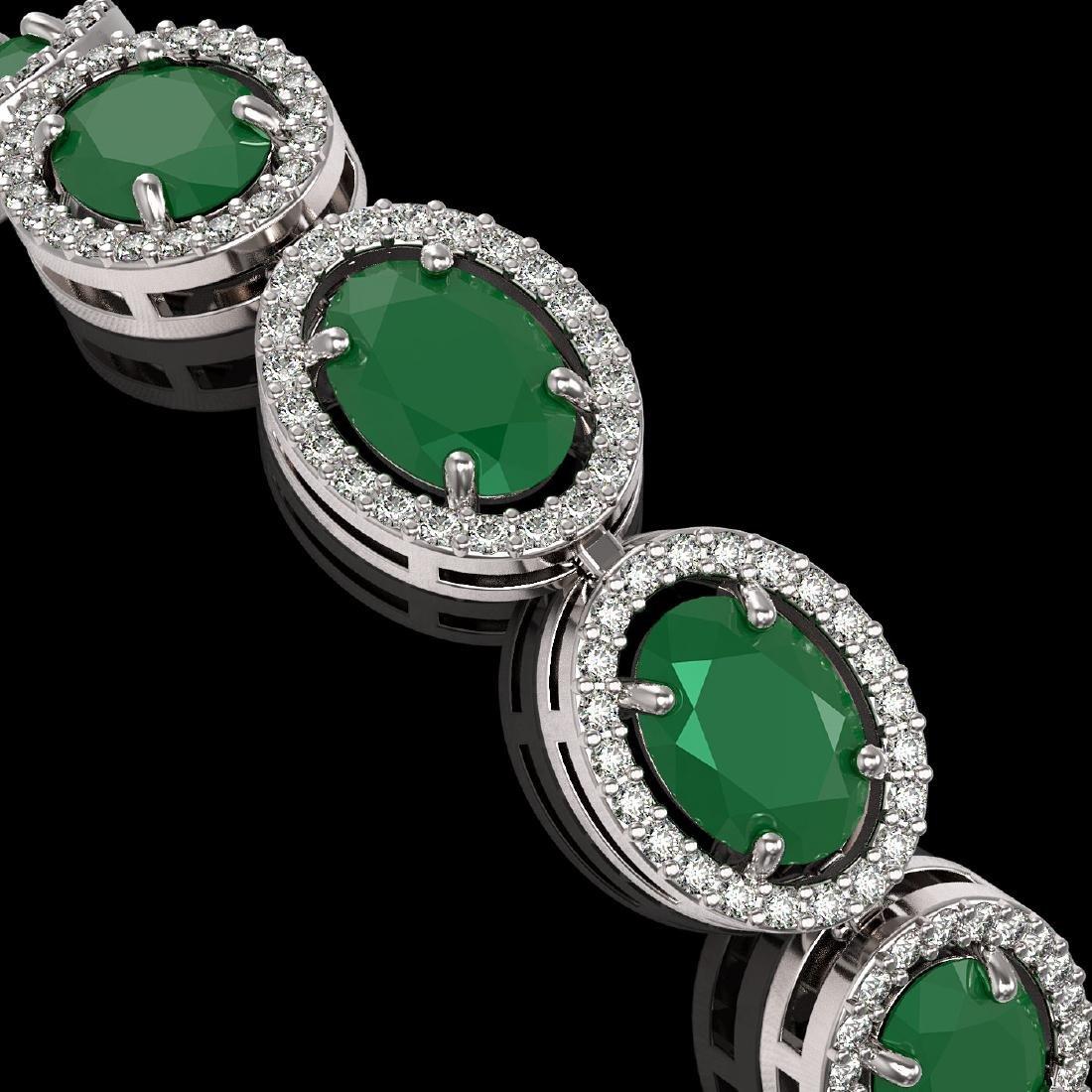 22.89 CTW Emerald & Diamond Halo Bracelet 10K White - 3
