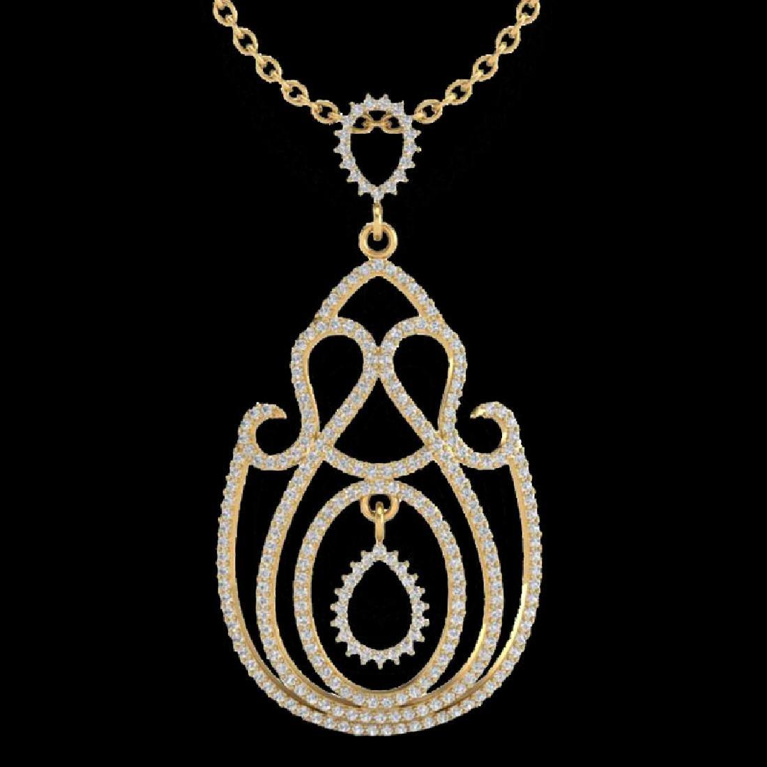 2 CTW Micro Pave Designer VS/SI Diamond Necklace 14K - 2