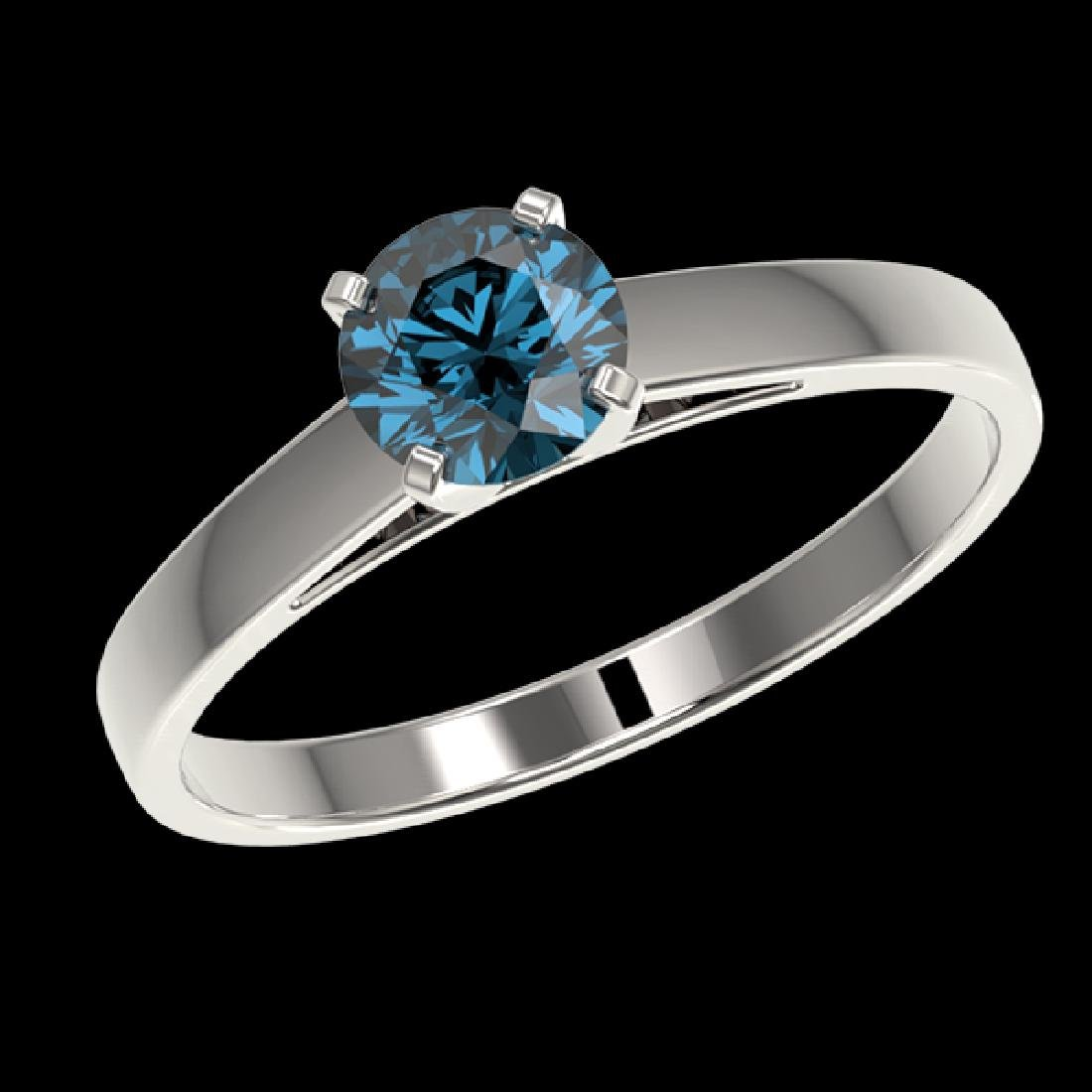 0.77 CTW Certified Intense Blue SI Diamond Solitaire - 2