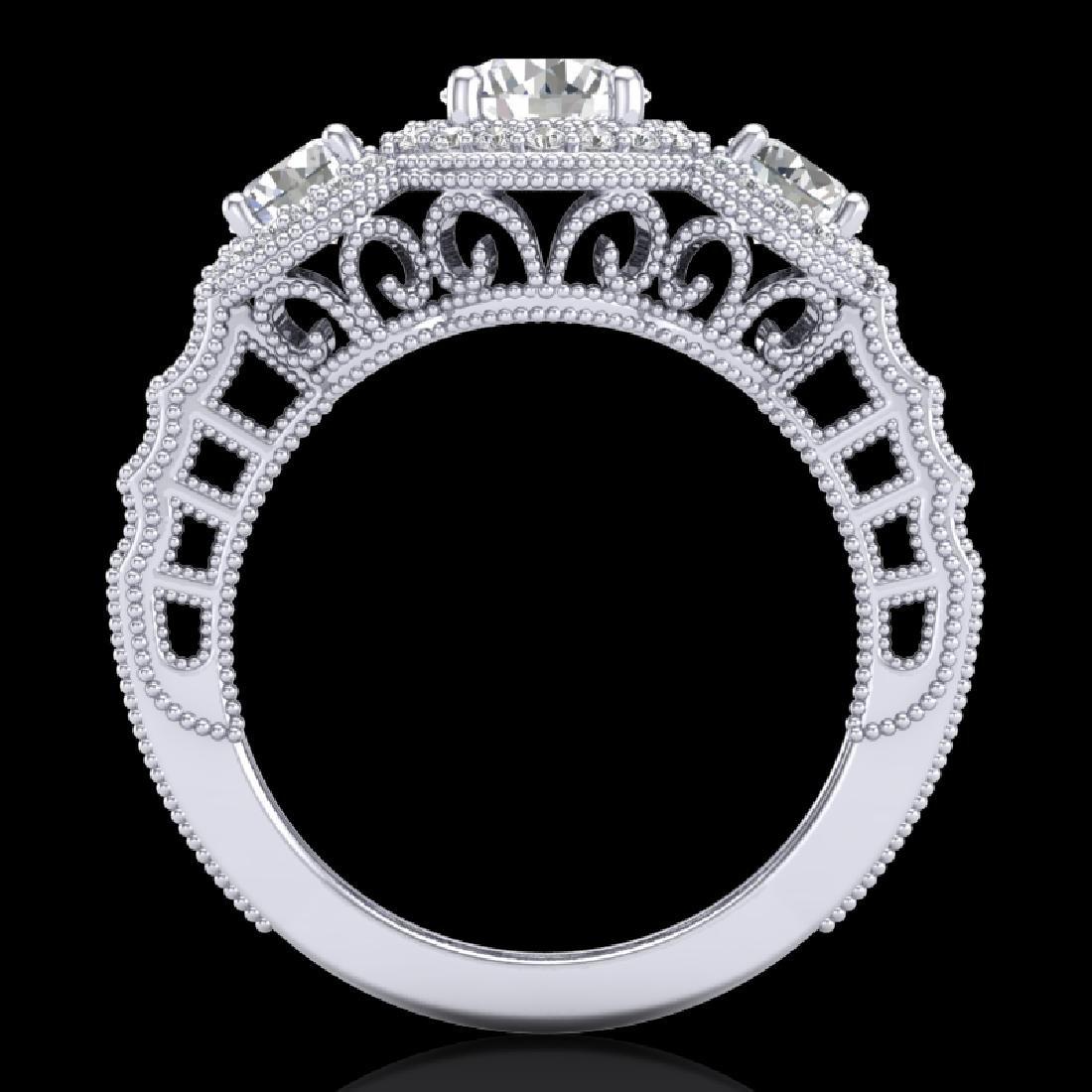 2.16 CTW VS/SI Diamond Solitaire Art Deco 3 Stone Ring