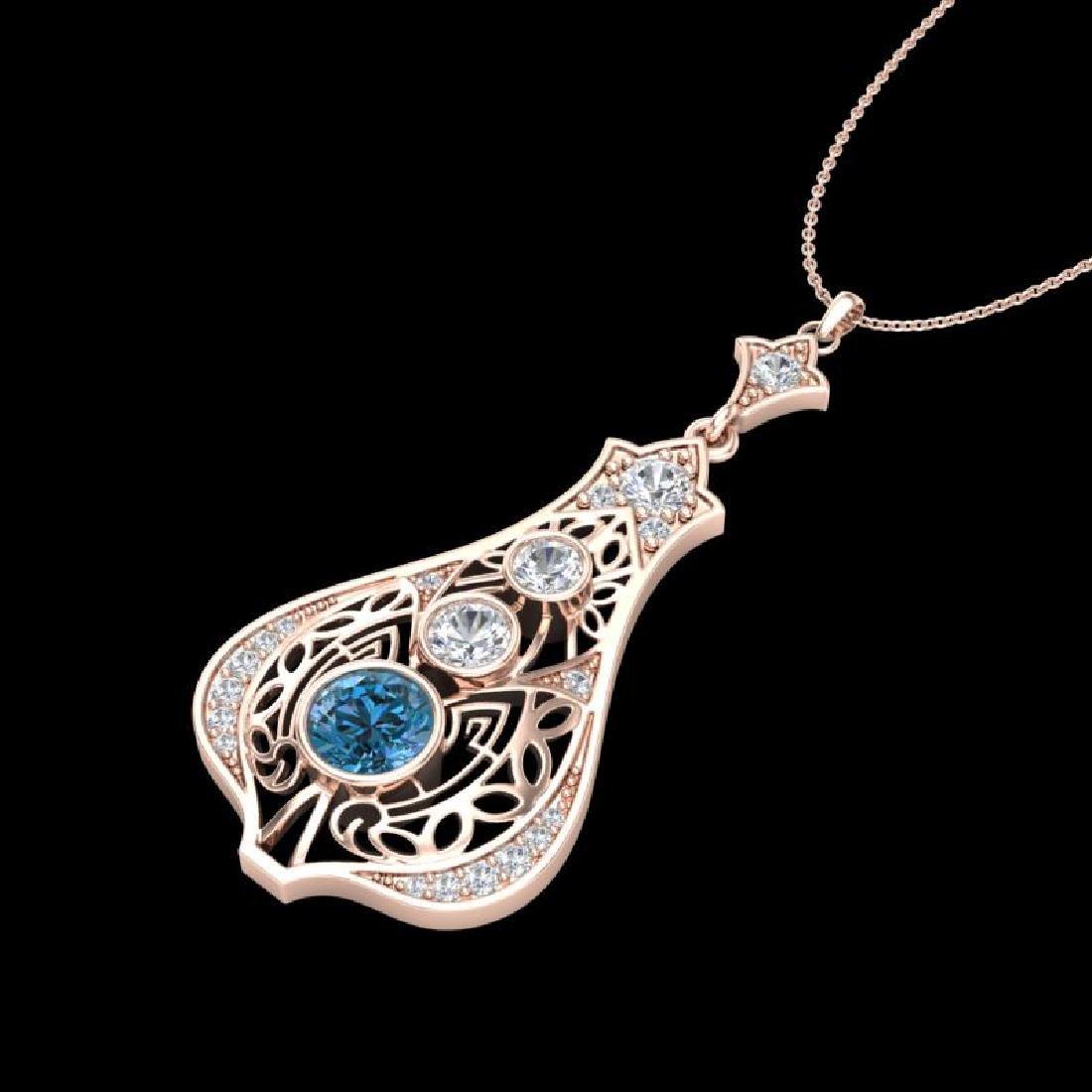 1.75 CTW Fancy Intense Blue Diamond Solitaire Art Deco - 2