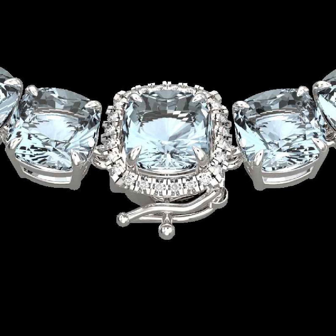 87 CTW Aquamarine & VS/SI Diamond Halo Micro Eternity