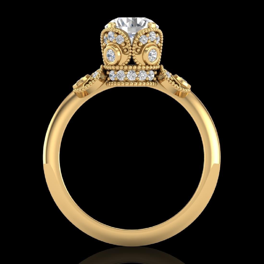 1.75 CTW VS/SI Diamond Art Deco Ring 18K Yellow Gold - 2