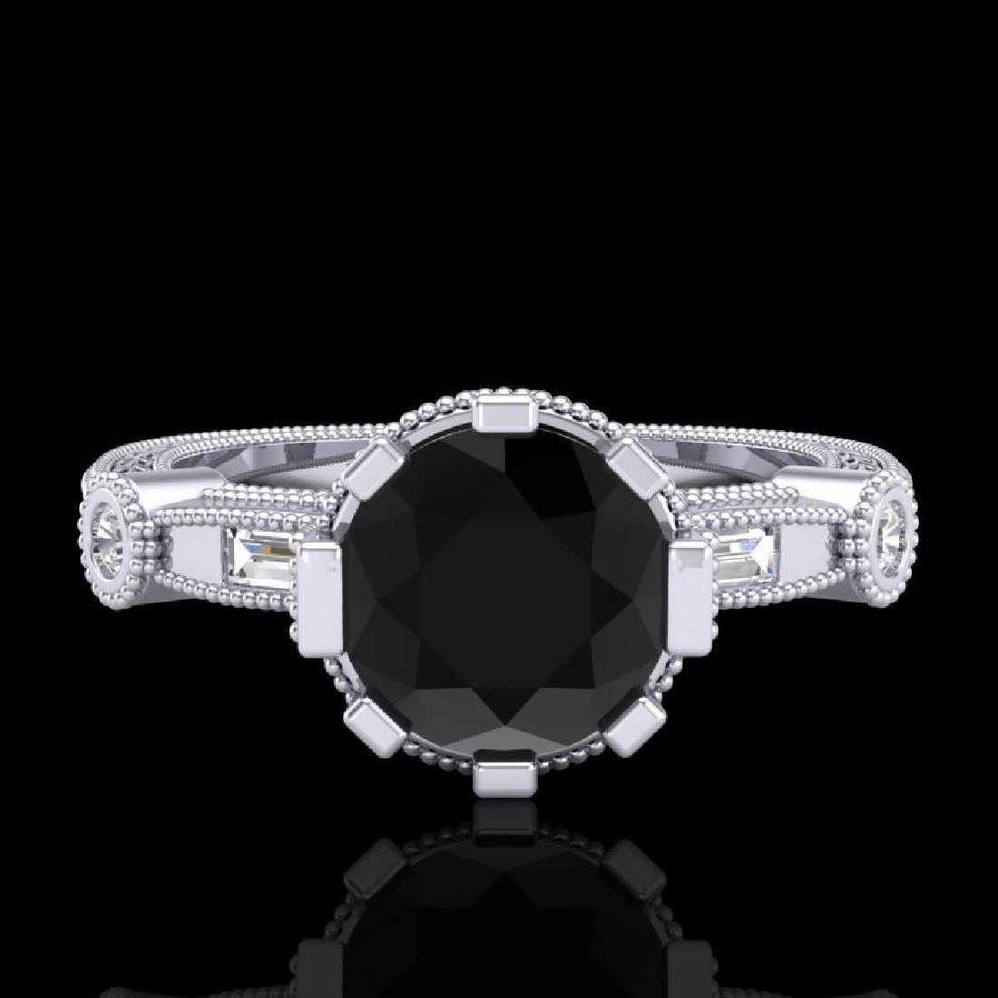 1.71 CTW Fancy Black Diamond Solitaire Engagement Art - 2