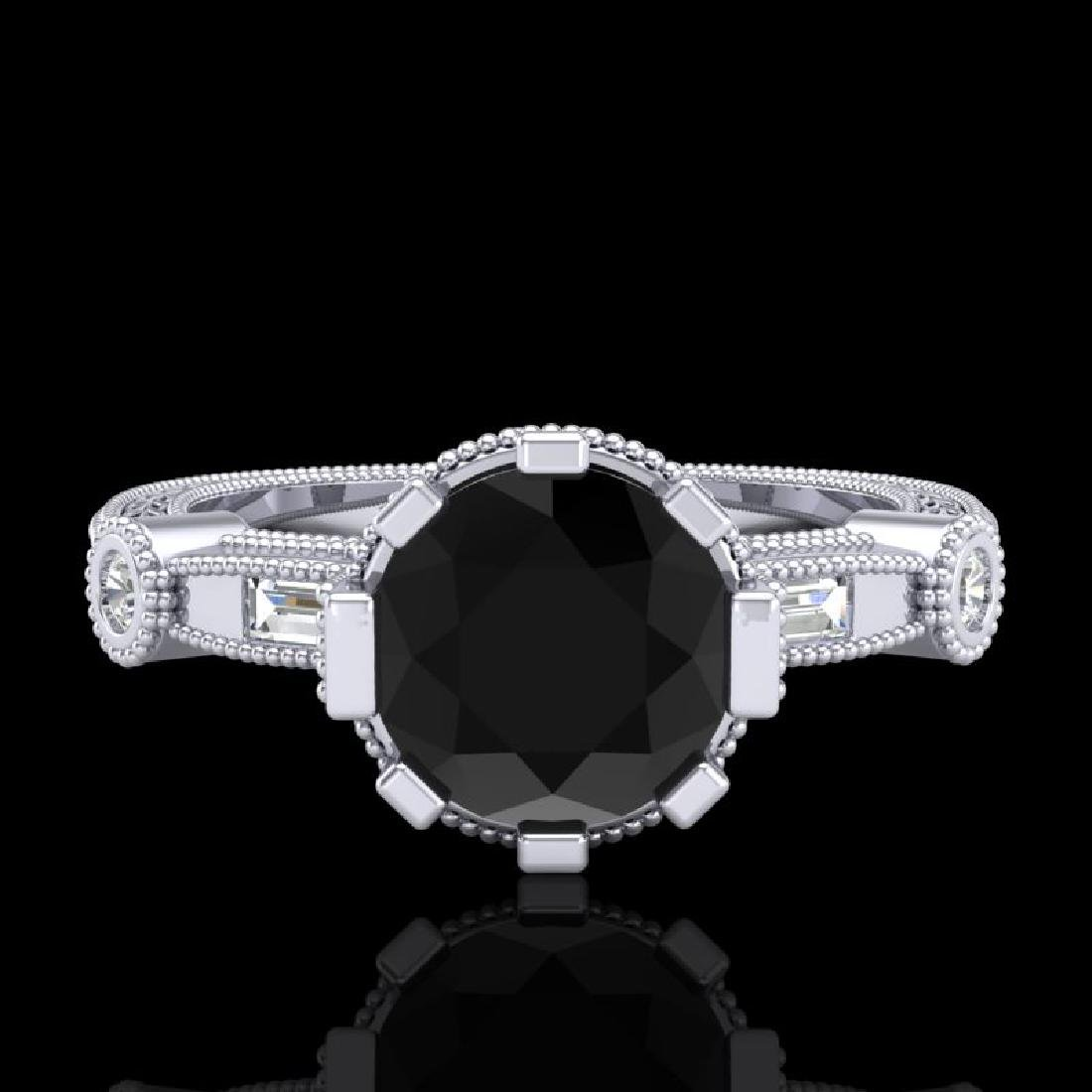1.71 CTW Fancy Black Diamond Solitaire Engagement Art - 2