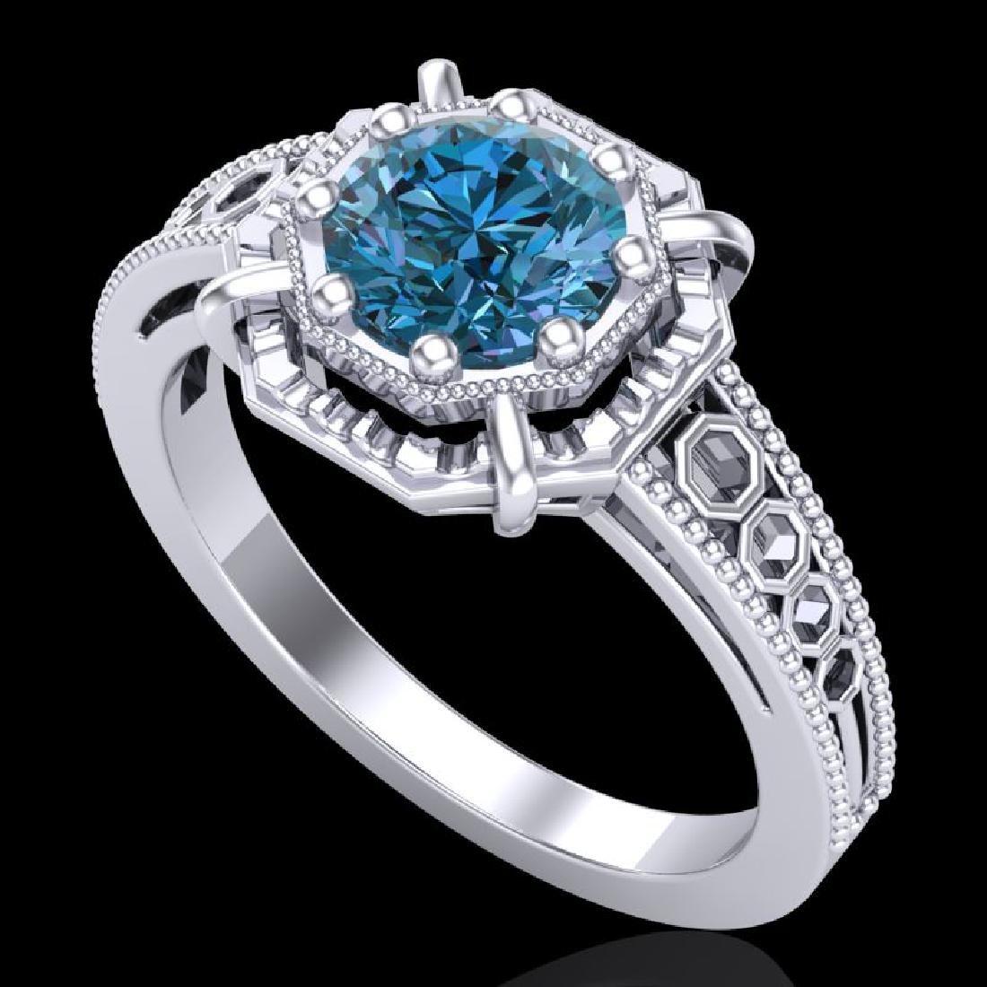 1 CTW Intense Blue Diamond Solitaire Engagement Art