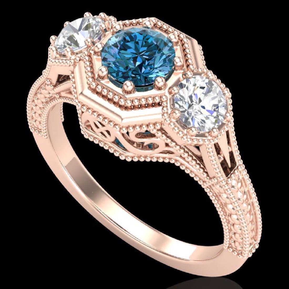 1.05 CTW Intense Blue Diamond Solitaire Art Deco 3