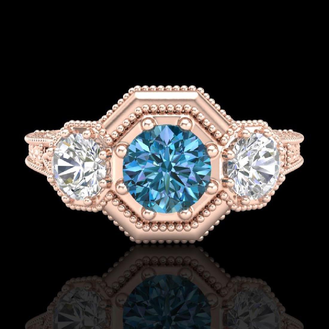 1.05 CTW Intense Blue Diamond Solitaire Art Deco 3 - 2