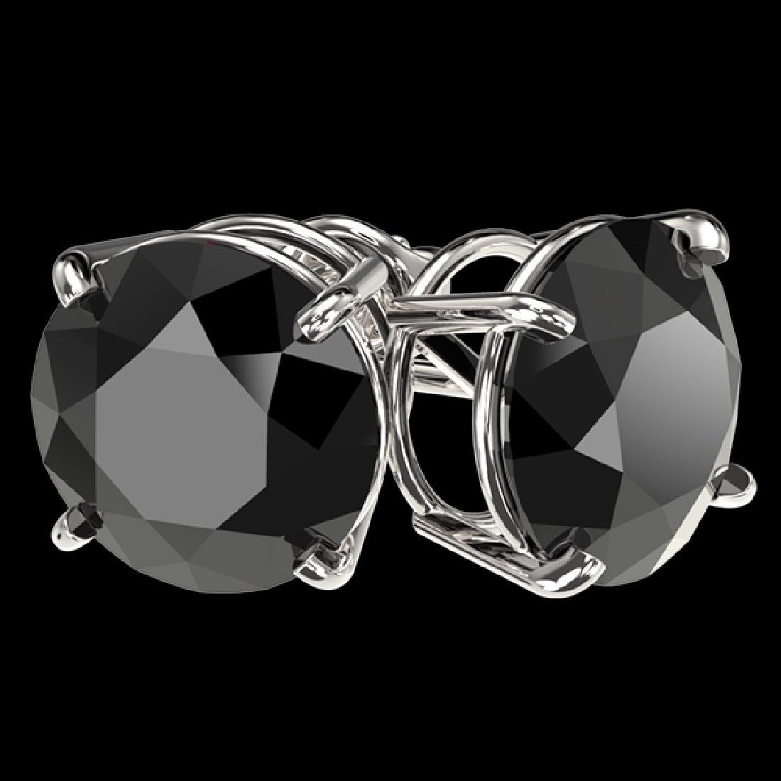 4 CTW Fancy Black VS Diamond Solitaire Stud Earrings - 2