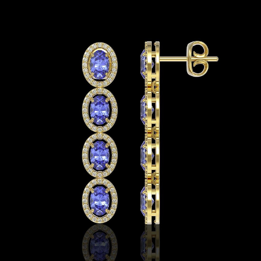6.09 CTW Tanzanite & Diamond Halo Earrings 10K Yellow