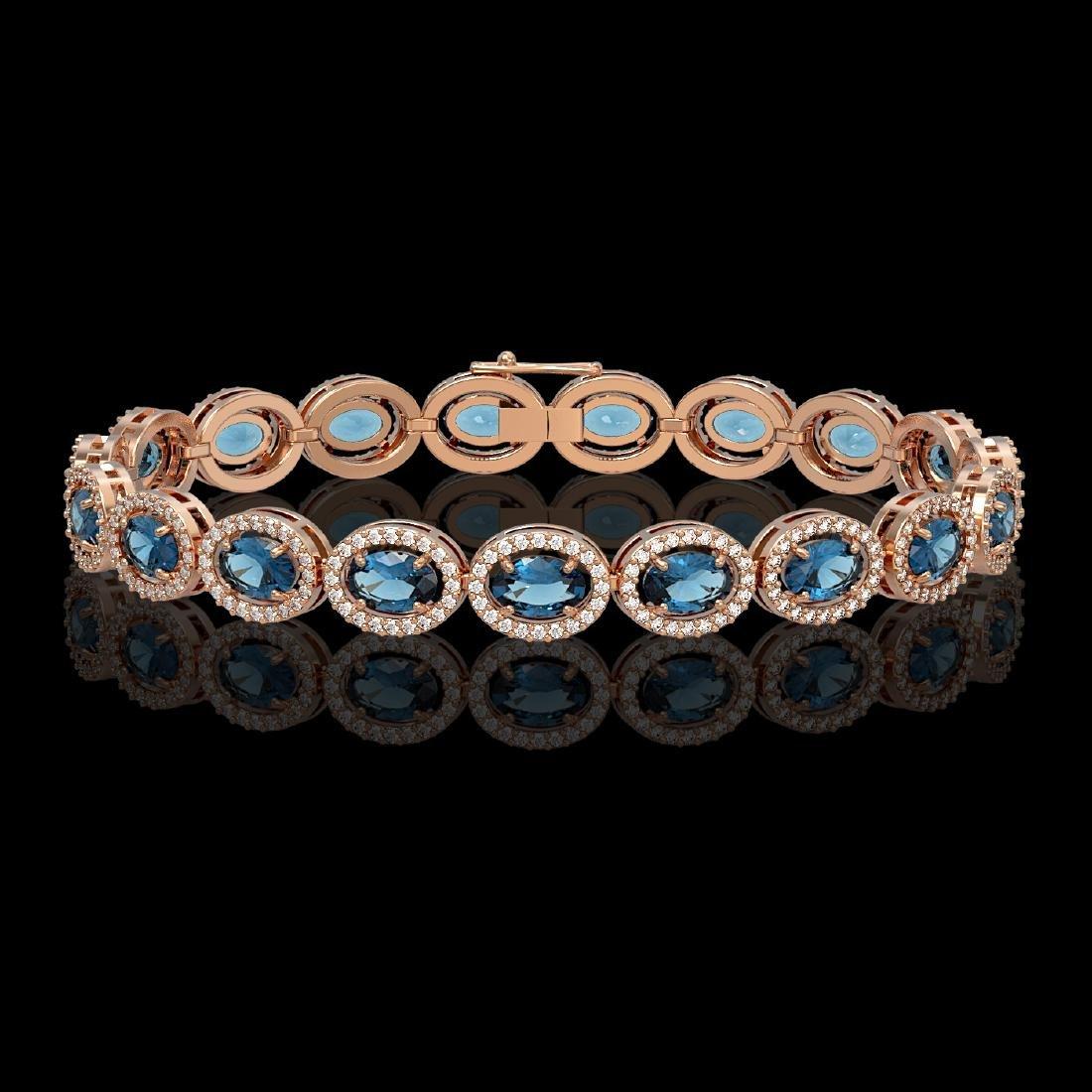 14.82 CTW London Topaz & Diamond Halo Bracelet 10K Rose