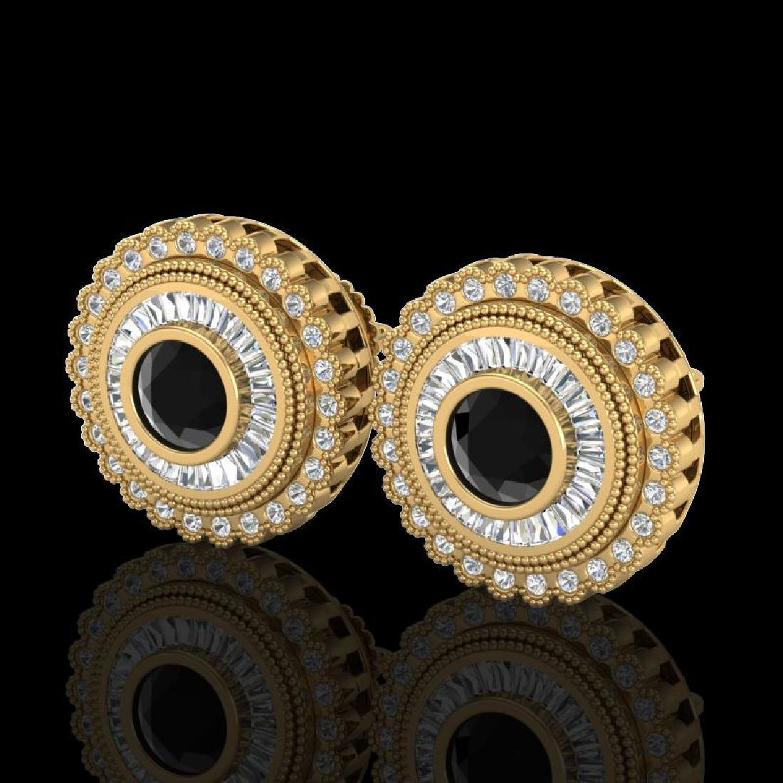 2.61 CTW Fancy Black Diamond Solitaire Art Deco Stud