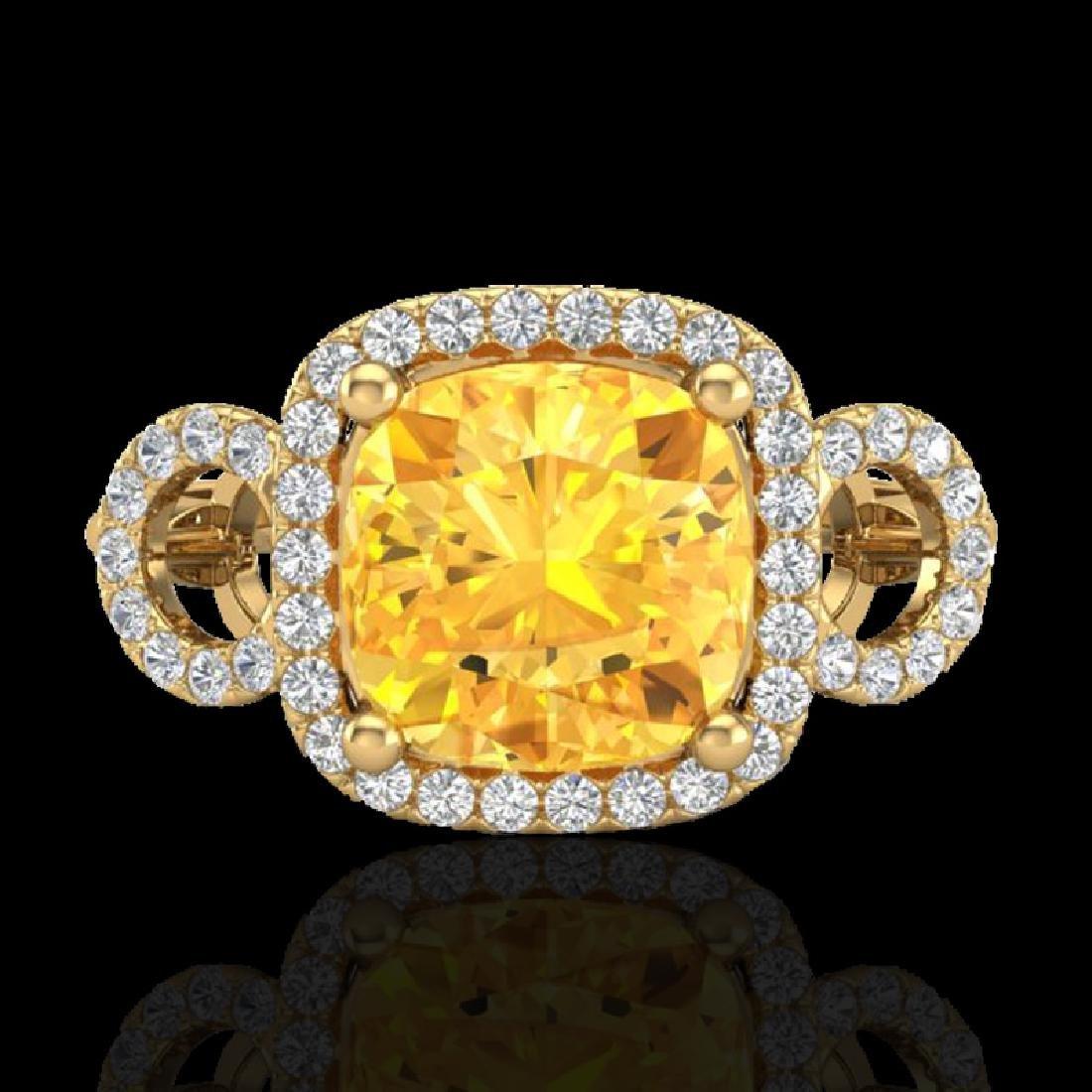 3.75 CTW Citrine & Micro VS/SI Diamond Ring 18K Yellow