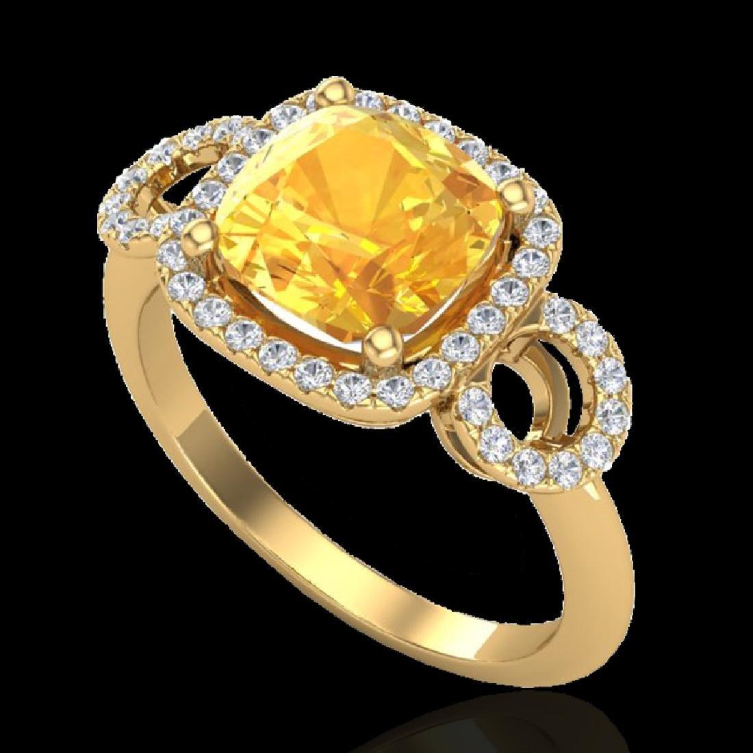 3.75 CTW Citrine & Micro VS/SI Diamond Ring 18K Yellow - 2