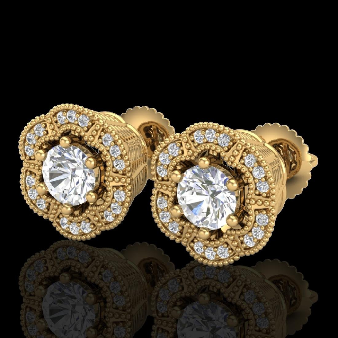 1.51 CTW VS/SI Diamond Solitaire Art Deco Stud Earrings