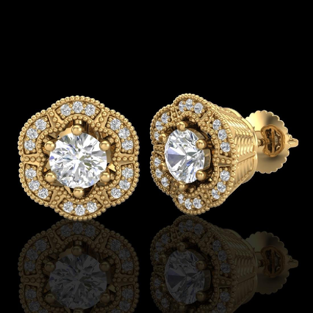 1.51 CTW VS/SI Diamond Solitaire Art Deco Stud Earrings - 2