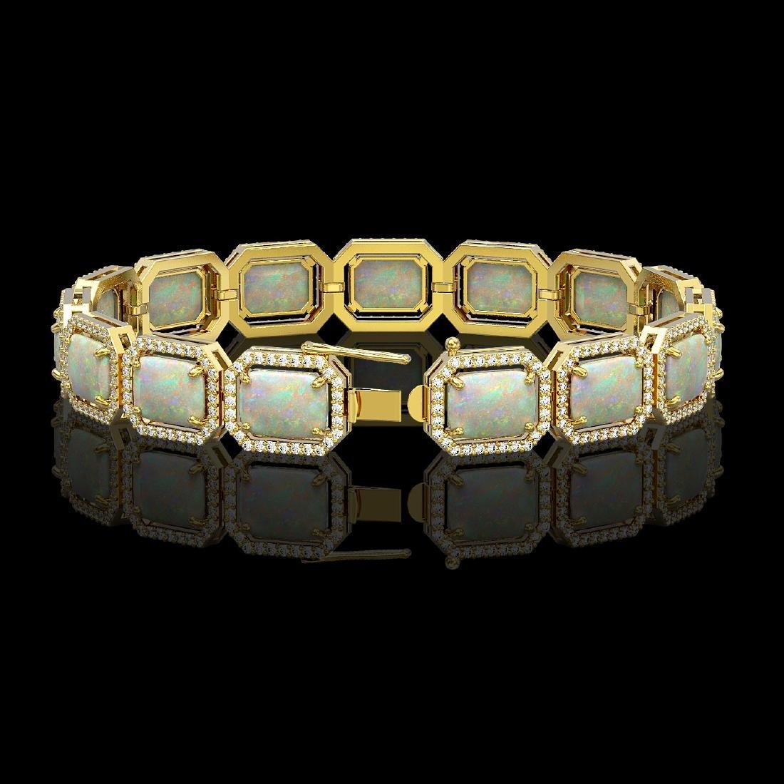 24.37 CTW Opal & Diamond Halo Bracelet 10K Yellow Gold - 2
