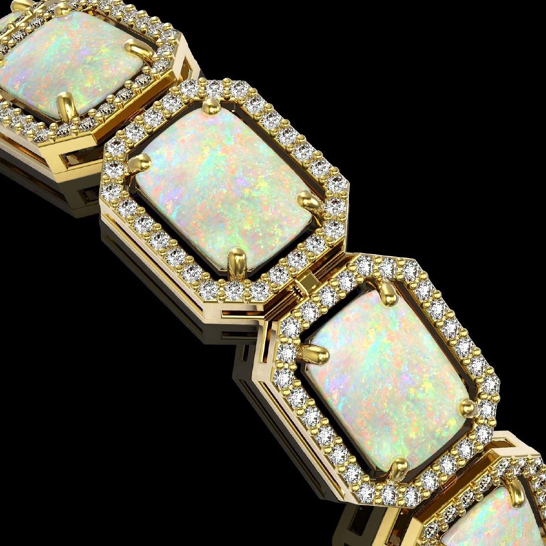 24.37 CTW Opal & Diamond Halo Bracelet 10K Yellow Gold - 3
