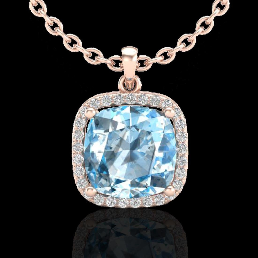 6 CTW Sky Blue Topaz & Pave Halo VS/SI Diamond Necklace - 2
