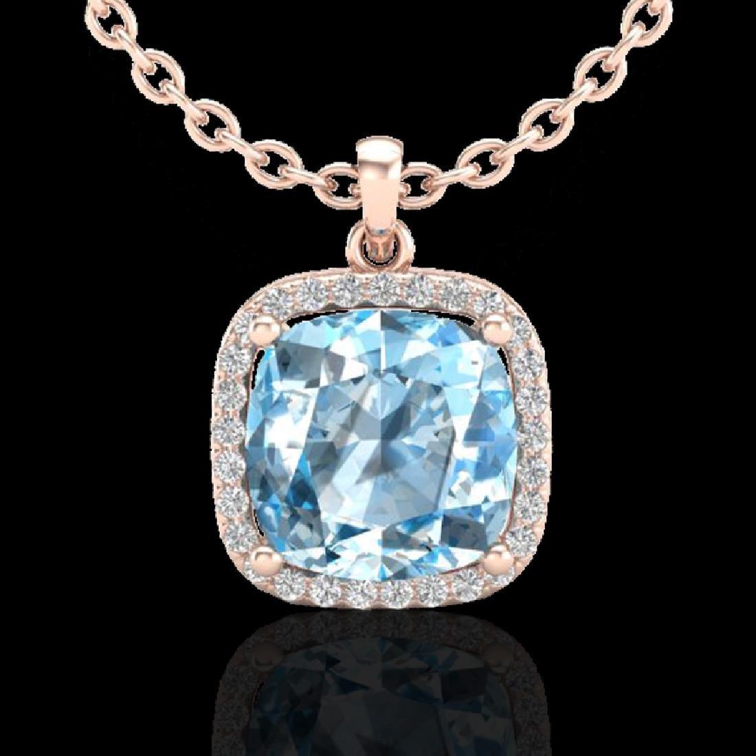 6 CTW Sky Blue Topaz & Pave Halo VS/SI Diamond Necklace - 2