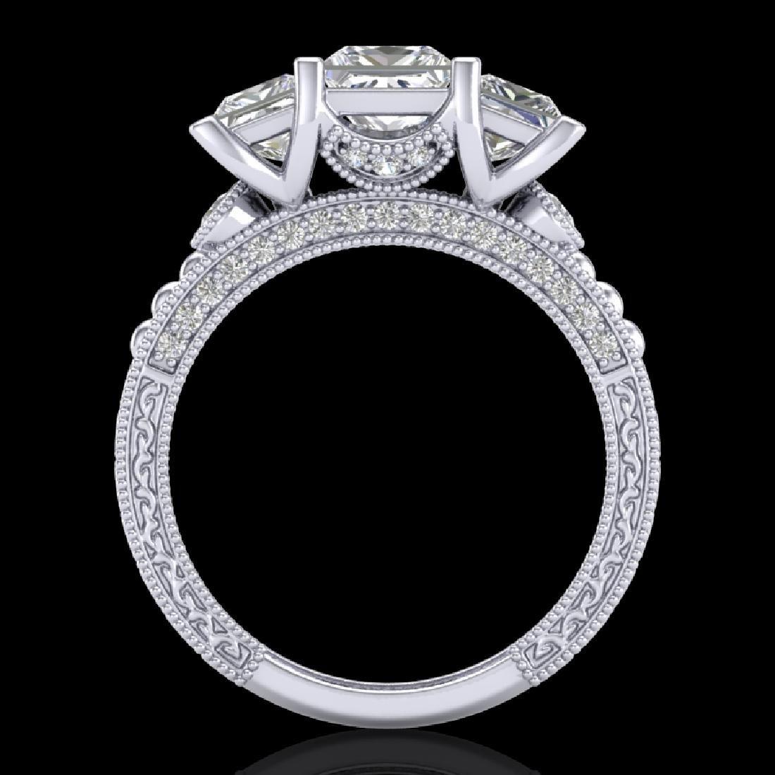 2.66 CTW Princess VS/SI Diamond Art Deco 3 Stone Ring