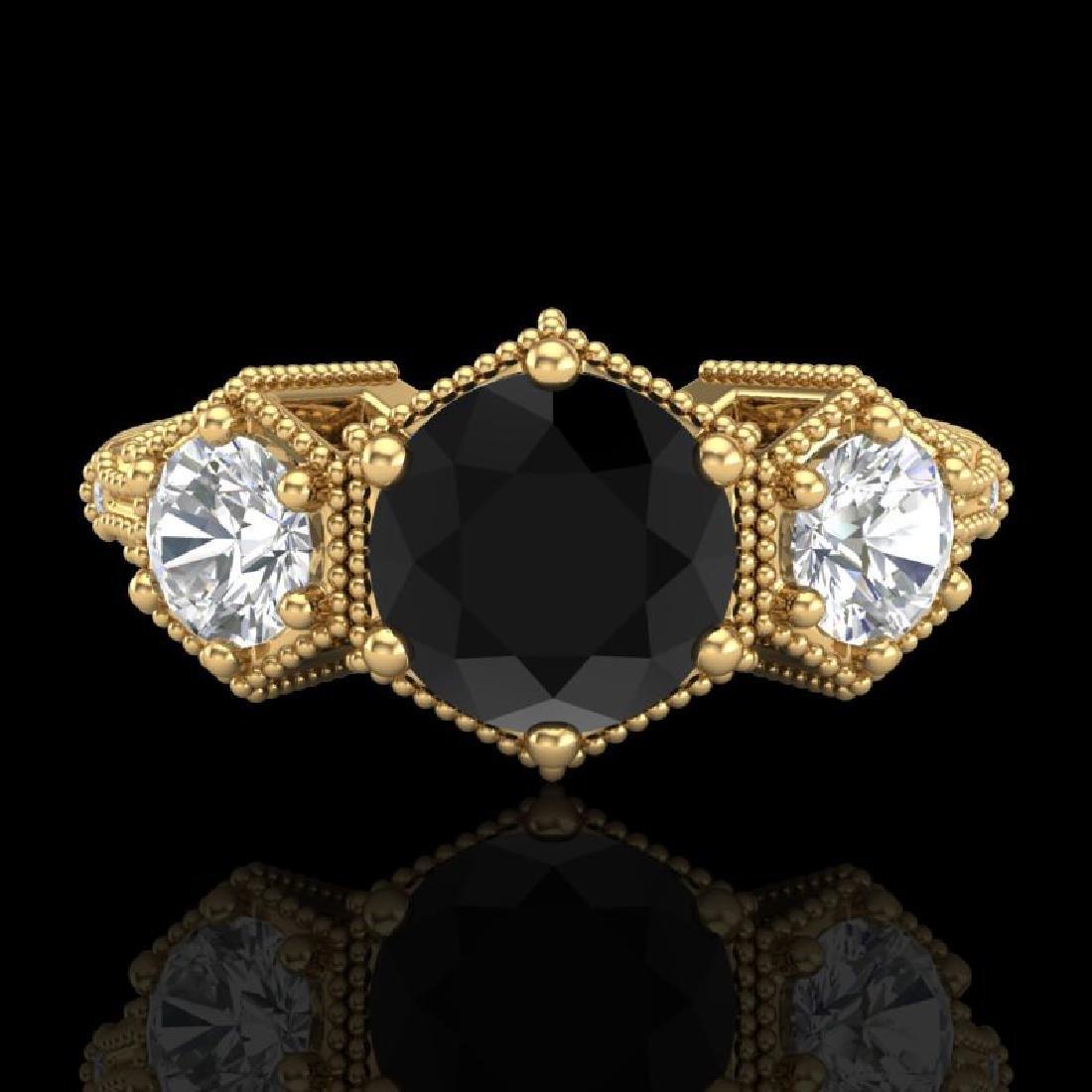1.66 CTW Fancy Black Diamond Solitaire Art Deco 3 Stone - 2