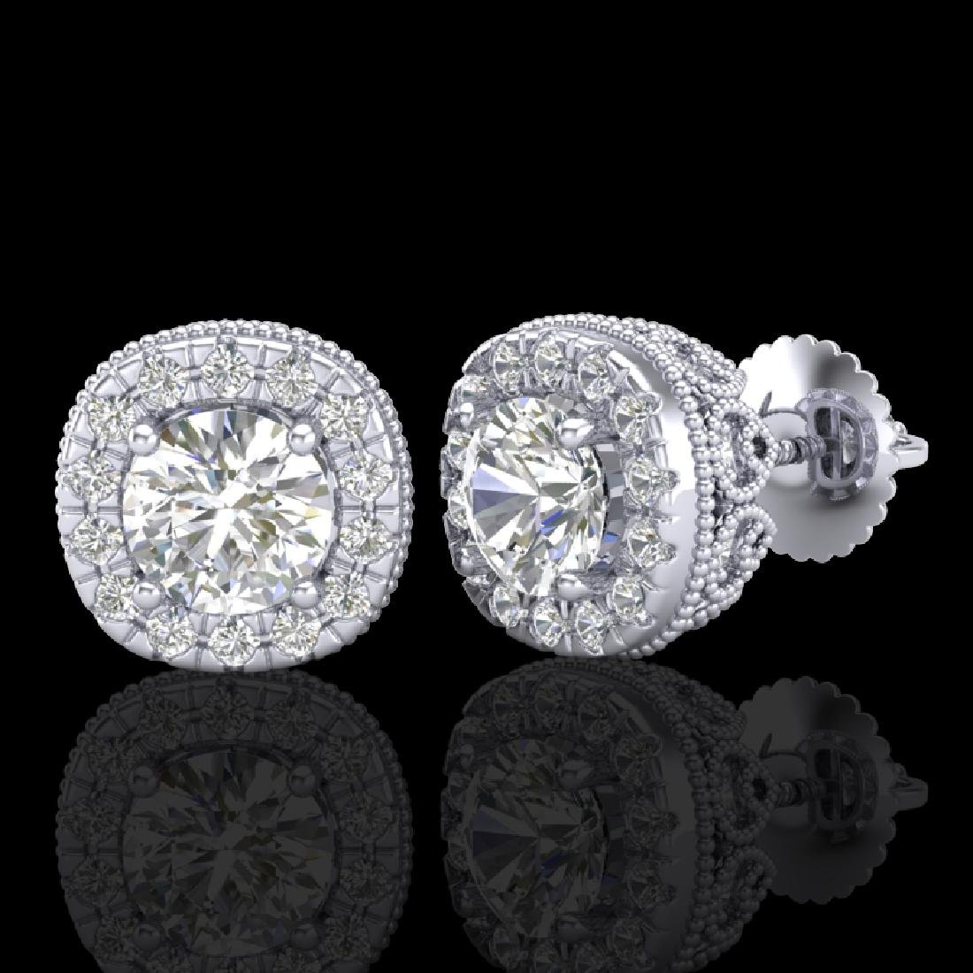 1.69 CTW VS/SI Diamond Solitaire Art Deco Stud Earrings - 2
